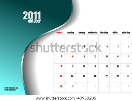 october calendar 2011. stock vector : Calendar 2011
