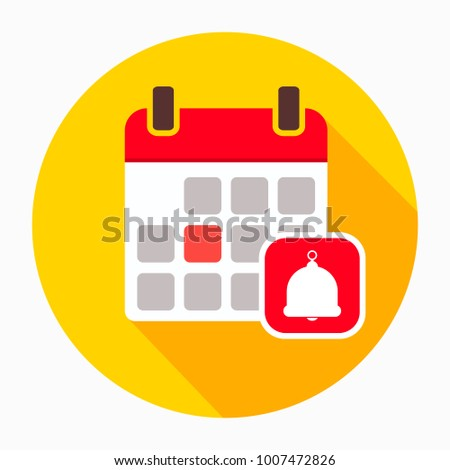 Calendar with bell icon vector, filled flat sign, solid pictogram isolated on white. Agenda reminder symbol, logo illustration
