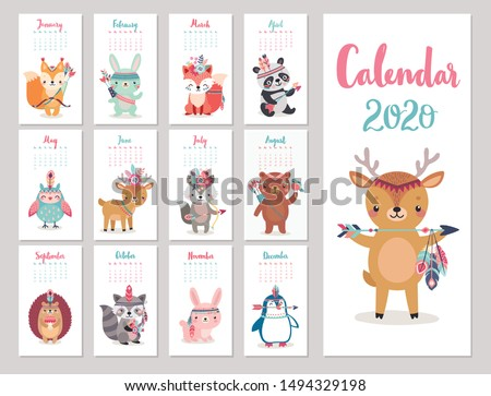 Calendar 2020 with Boho Woodland characters. Cute forest animals. Vector illustration. -  bear, fox, raccoon, panda, deer, rabbit, owl and squirrel.