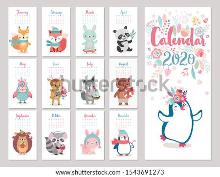 calendar 2020 with boho