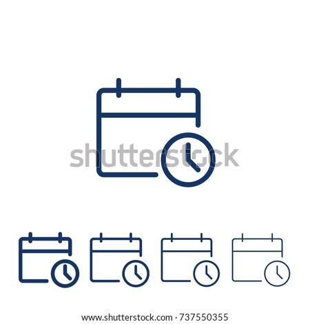 Calendar with clock/ Vector line icon calendar Icon Vector / Calendar icon /clock