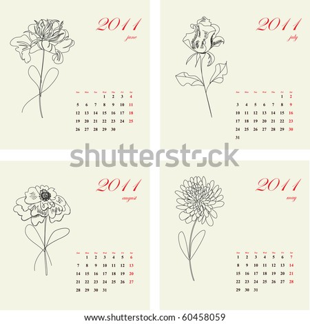 Calendar with flowers for 2011. Part 2