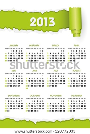 calendar 2013 with green torn paper