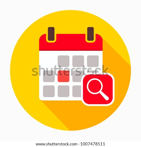 Calendar with magnifying glass icon vector, filled flat sign, solid pictogram isolated on white. Audit day symbol, logo illustration