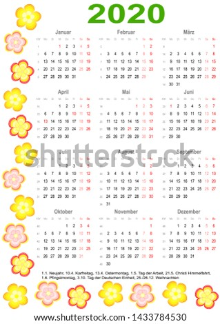 calendar 2020 with markings and