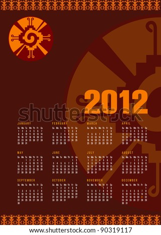 Calendar 2012 with Mayan symbol Hunab Ku. As an embodiment of harmony and balance, Hunab Ku invites us into the age of consciousness, which is predicted to begin on December 21, 2012.