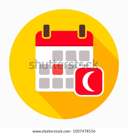 Calendar with moon icon vector, filled flat sign, solid pictogram isolated on white. Night sleep time symbol, logo illustration