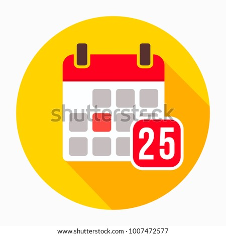 Calendar with number 25 icon vector, filled flat sign, solid pictogram isolated on white, logo illustration