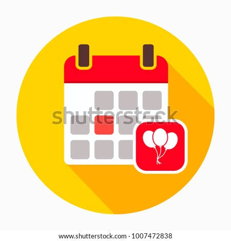 Calendar with party balloon icon vector, filled flat sign, solid pictogram isolated on white. Event symbol, logo illustration
