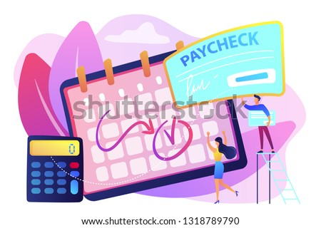 Calendar with payday, calculator and tiny business people getting a paycheck. Paycheck cash, payroll tax deposit, payroll software concept. Bright vibrant violet vector isolated illustration