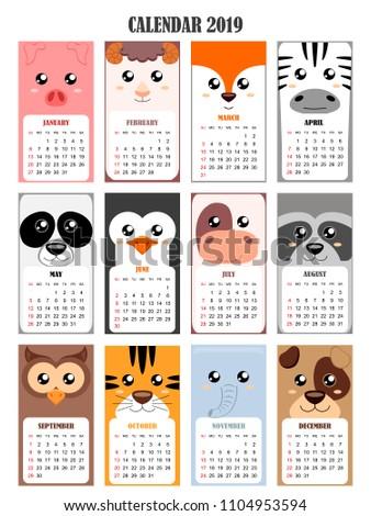 Calendar 2019 with pig,sheep,fox, zebra, panda, penguin, cow, raccoon, owl, tiger, elephant, dog