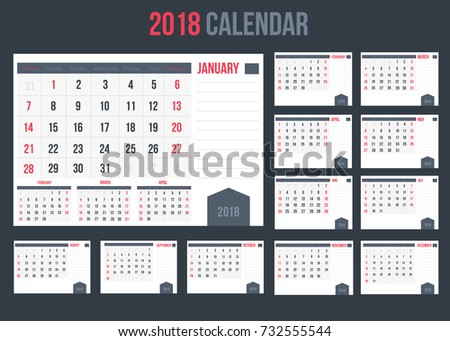 calendar with planner or space for notes 2018 landscape view