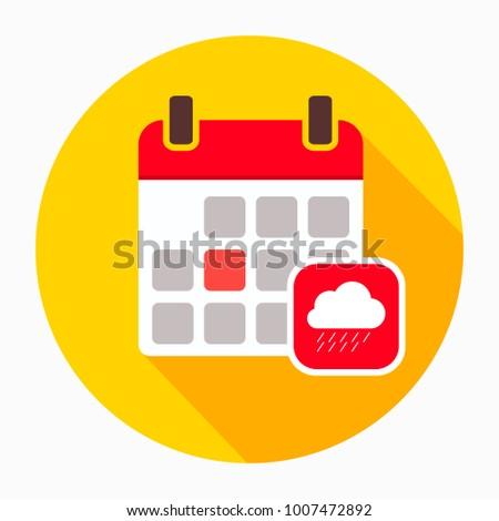 Calendar with rainy cloud icon vector, filled flat sign, solid pictogram isolated on white. Autumn season symbol, logo illustration