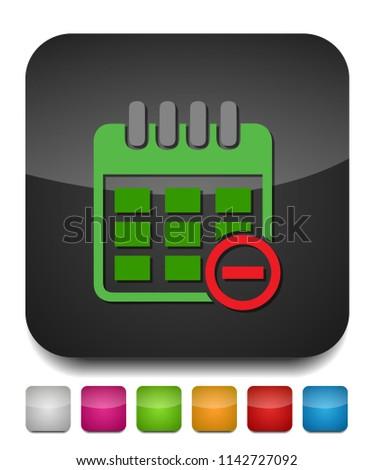 calendar with remove sign icon, day calendar, event calendar