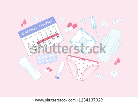 Calendar with sanitary napkins, tampons, pants, tablets, flowers. Illustration for first period, feminine hygiene, medicine. Menstruation theme background. Colored flat icons, vector design.