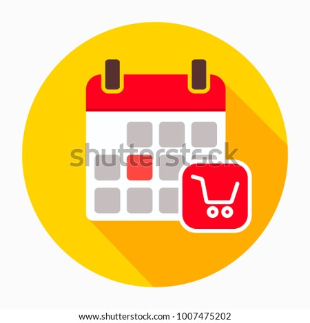 Calendar with shopping cart icon vector, filled flat sign, solid pictogram isolated on white. Shopping day calendar schedule symbol, logo illustration