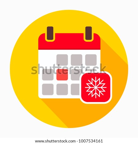 Calendar with snowflake icon vector, filled flat sign, solid pictogram isolated on white. Winter season symbol, logo illustration