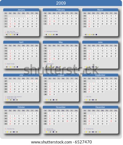 Calendar 2009 with US holidays, week numbers and moon phases. Start of