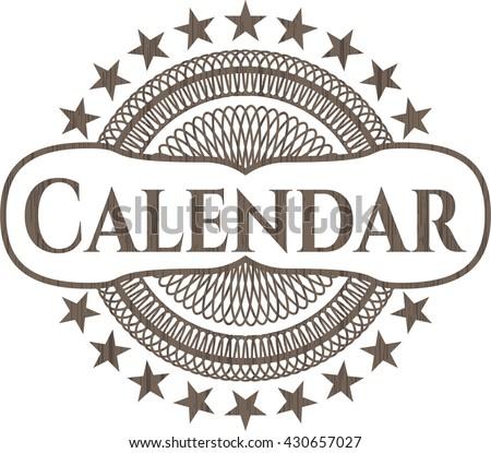 Calendar wood emblem. Vintage.