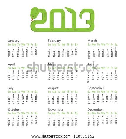 Calendar 2013 year