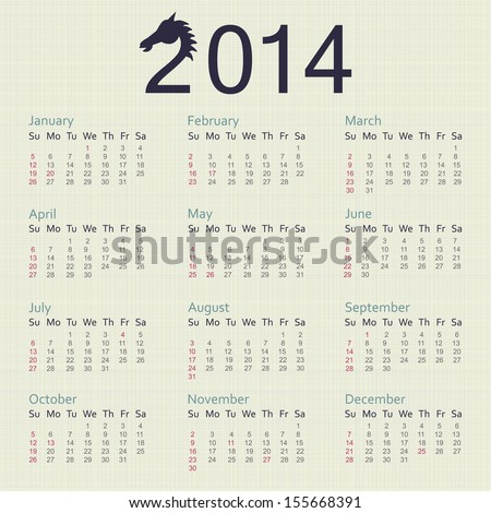 Calendar 2014 year