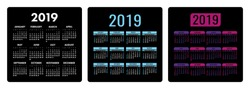 Calendar 2019 year. Colorful English set. Week starts on Sunday. Vector template. Calender black collection. Basic grid