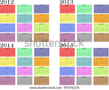 Calendar year in English 2012-2013-2014-2015 - stock vector