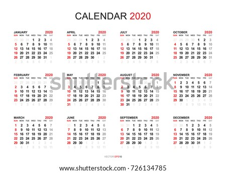 Calendario 2020 Vector Gratis.Calendar 2020 Free Vector Art 135 Free Downloads