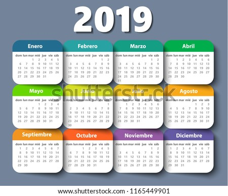 Calendar 2019 year vector design template in Spanish, Week starting on Sunday. EPS