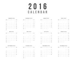 Calendar 2016 year vector design template - Minimalism Style