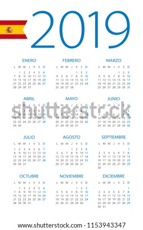Calendar 2019 year - vector illustration. Spanish version