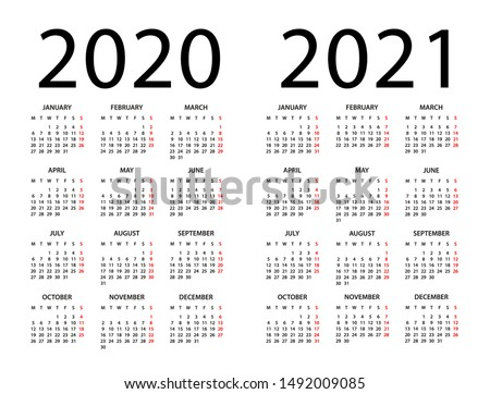 Calendar 2020 2021 year - vector illustration. Week starts on Monday