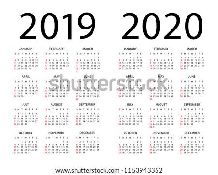 Calendar 2019 2020 year - vector illustration. Week starts on Sunday