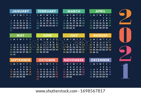 Calendar 2021 year. Vector kid's pocket or wall calender template. Simple design. Week starts on Sunday