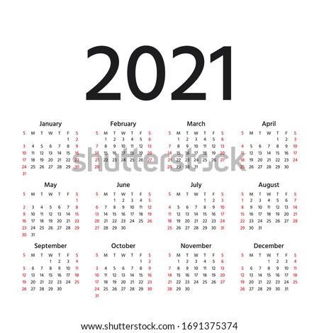 Calendar 2021 year. Vector. Week starts Sunday. Calender layout. Stationery template. Yearly organizer in minimal design, English.