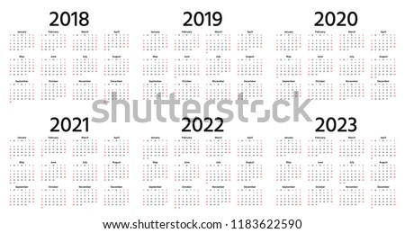 Calendar 2019, 2018, 2020, 2021, 2022, 2023 year. Vector. Week starts Sunday. Stationery 2019 vertical template in simple minimal design. Yearly calendar organizer for weeks. Portrait orientation.