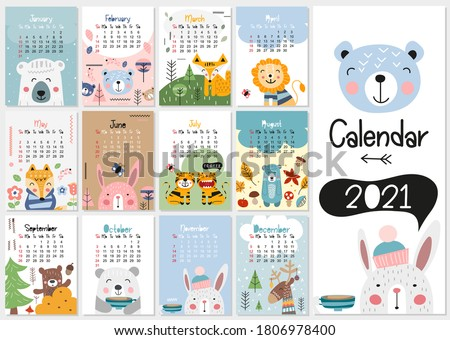 Calendar 2021. Yearly Planner Calendar with all Months. Templates with cute hand drawn animals in Scandinavian style. Vector illustration. Great for kids, nursery, poster and printable.