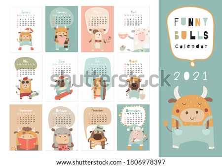 Calendar 2021. Yearly Planner Calendar with all Months. Templates with cute hand drawn bulls in Scandinavian style. Vector illustration. Great for kids, nursery, poster and printable.