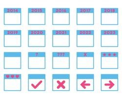 Calendar Years vector icon. Style is bicolor flat symbols, pink and blue colors, rounded angles, white background.