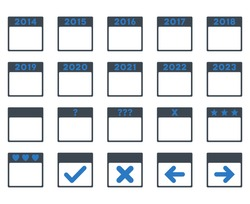 Calendar Years vector icon. Style is bicolor flat symbols, smooth blue colors, rounded angles, white background.