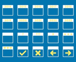 Calendar Years vector icon. Style is bicolor flat symbols, yellow and white colors, rounded angles, blue background.