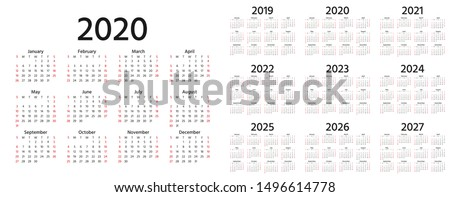 Calendar 2020, 2019, 2021, 2022, 2023, 2024, 2025, 2026, 2027 years. Vector. Week starts Sunday. Stationery template in minimal design. Yearly calender organizer for weeks. Landscape orientation.