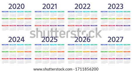 Calendar 2021, 2022, 2023, 2024, 2025, 2026, 2027, 2020 years. Vector. Week starts Sunday. Calender layout. Stationery template with 12 months. Yearly quadratic organizer, English. Color illustration.