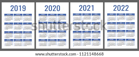 Calendar 2019, 2020, 2021, 2022 years. Vertical calender simple design template. Blue color vector set. Week starts on Sunday