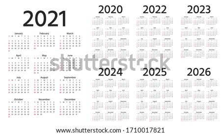 Calendar 2021, 2022, 2023, 2024, 2025, 2026, 2020 years. Week starts Sunday. Simple year template of pocket or wall calenders. Yearly organizer. Stationery layout. Portrait orientation, English.