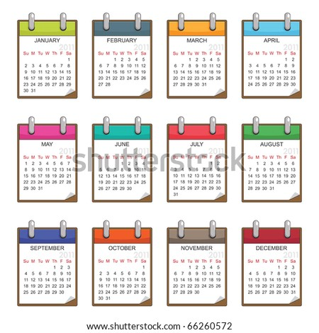 calender for 2011 in clip board design isolated on white