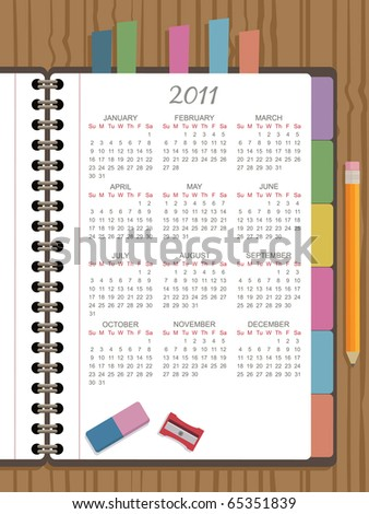 calender for 2011 on page of diary notebook