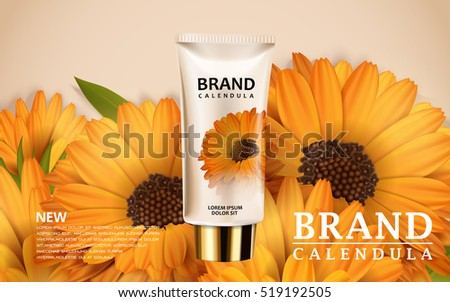 calendula hand cream ads  3d