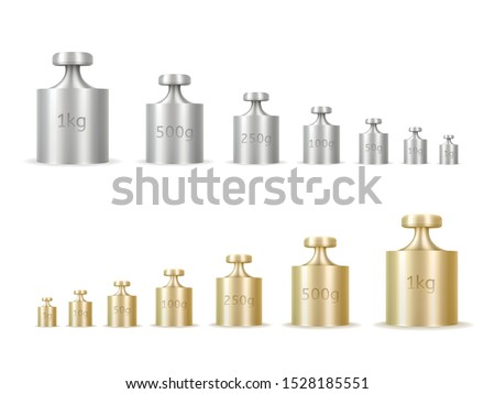 Calibration weights realistic isolated vector illustrations set. Golden and silver precision 3d weight for balance scales. Mass measurement equipments in grams and kilograms cliparts collection