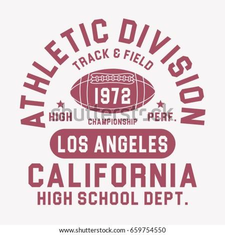 California athletic sport typography, tee shirt graphics, vectors